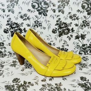 Gap patent yellow kiltie stacked heel loafers sz 9